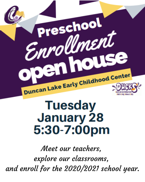 Preschool Enrollment Open House January 28, 5:30-7pm
